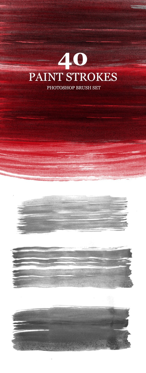 40 High Res Paint strokes Brushes - Brushes Photoshop