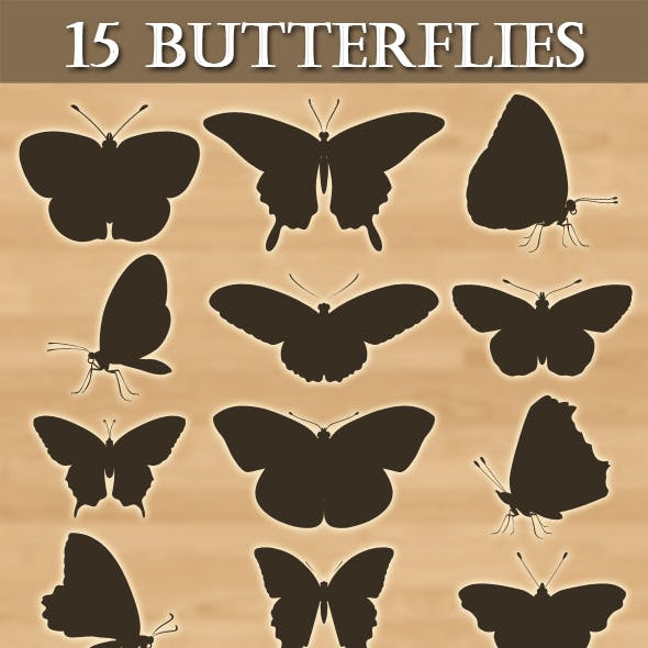 15 Photoshop Butterflies shapes