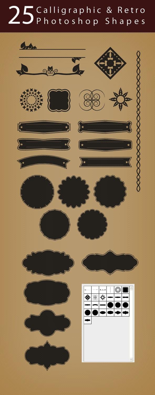 25 Calligraphic & Retro Shapes - Shapes Photoshop