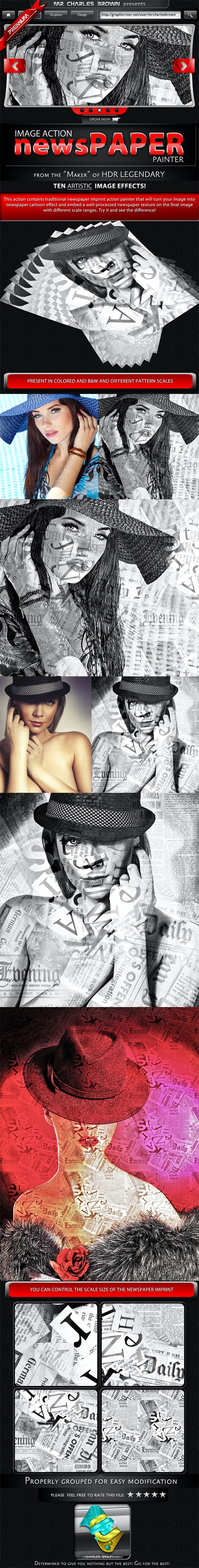 Newspaper Action Painter - Photo Effects Actions