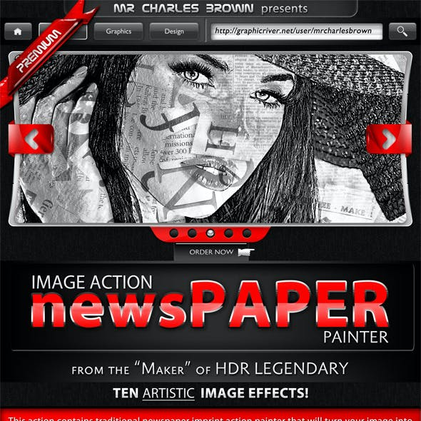 Newspaper Action Painter
