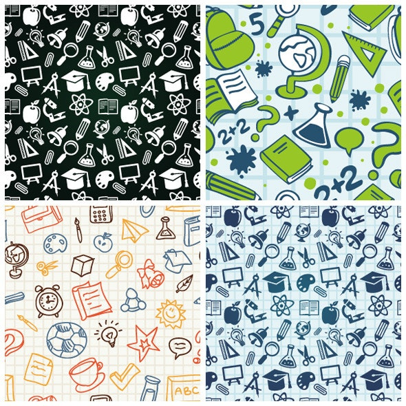 Vector Seamless Patterns with Education Icons - Textures / Fills / Patterns Illustrator