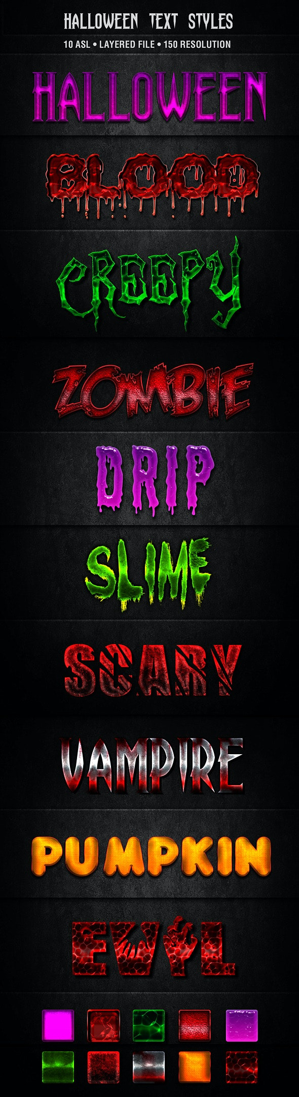 Halloween Text Styles - Text Effects Actions