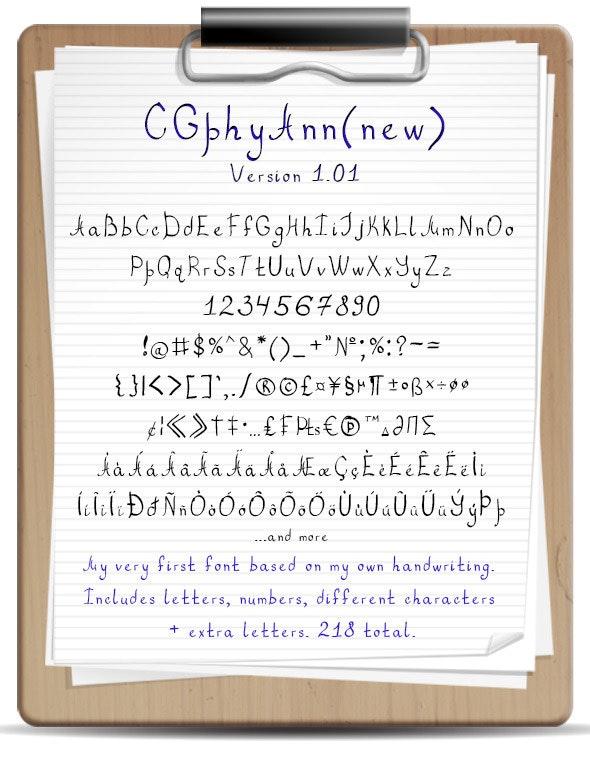 Handwritten Font CGphyAnn - Calligraphy Script