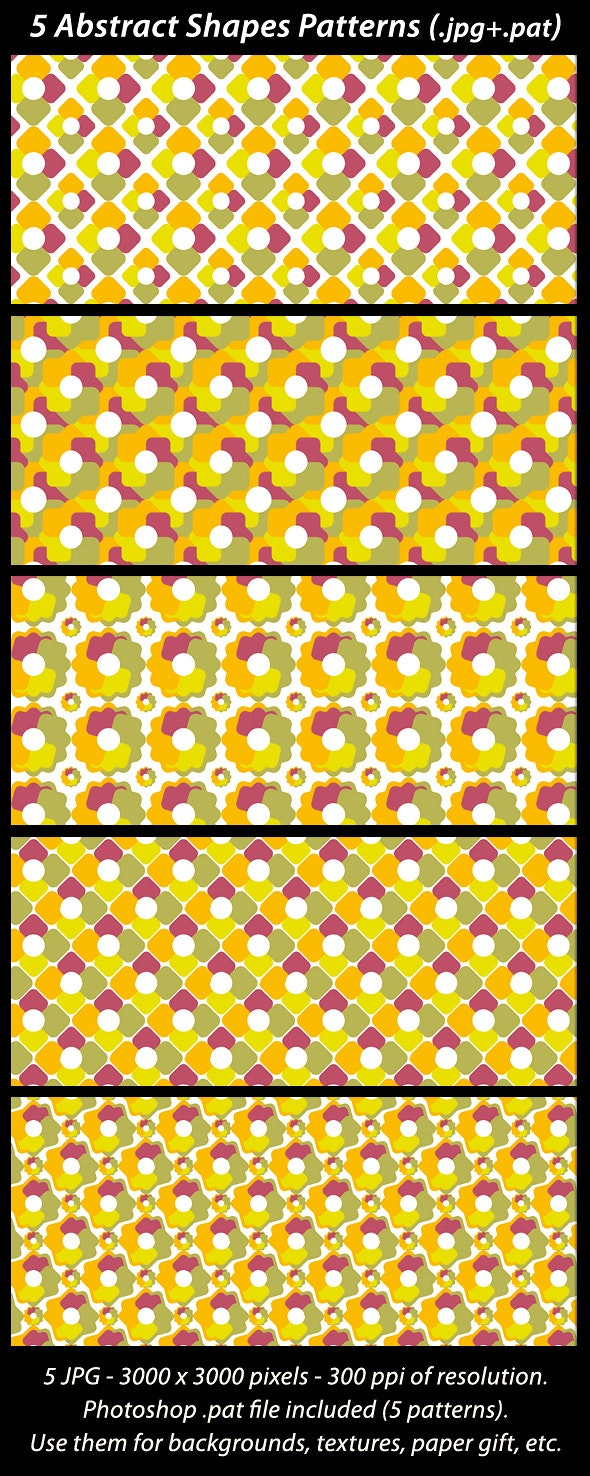 5 Abstract Shapes Patterns - Textures / Fills / Patterns Photoshop