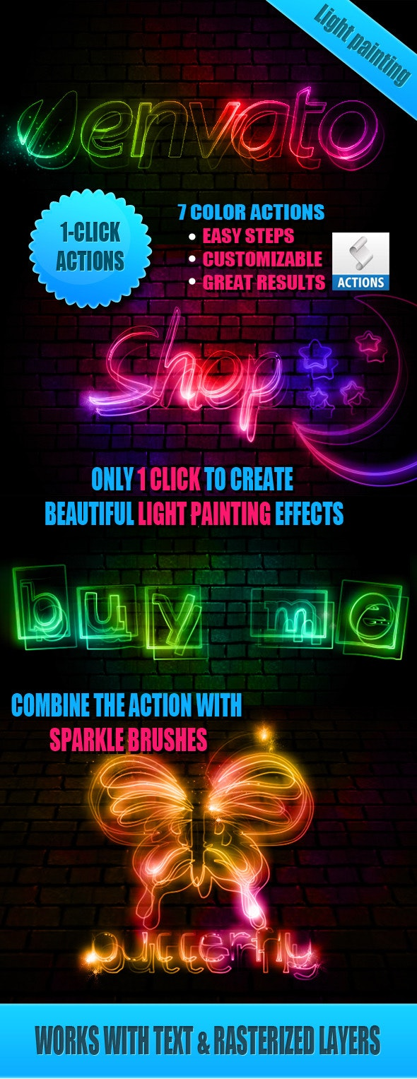 Light Painting Effect Photoshop Actions - Utilities Actions