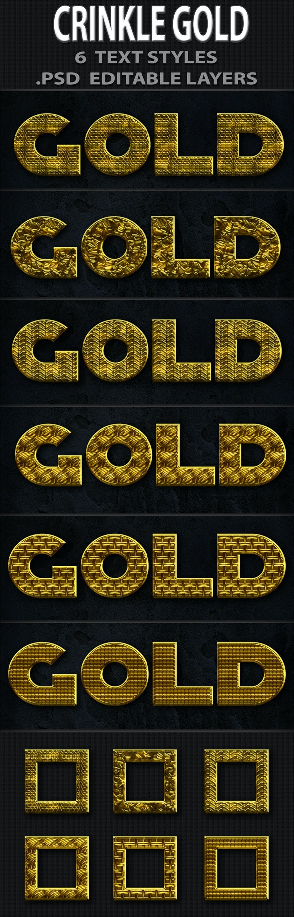 Crinkle Gold Text Styles - Text Effects Actions