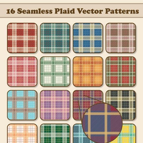 16 Seamless Plaid Vector Patterns
