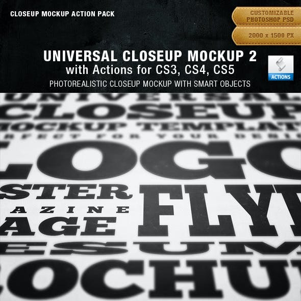 Universal Closeup Mockup 2 Action Pack