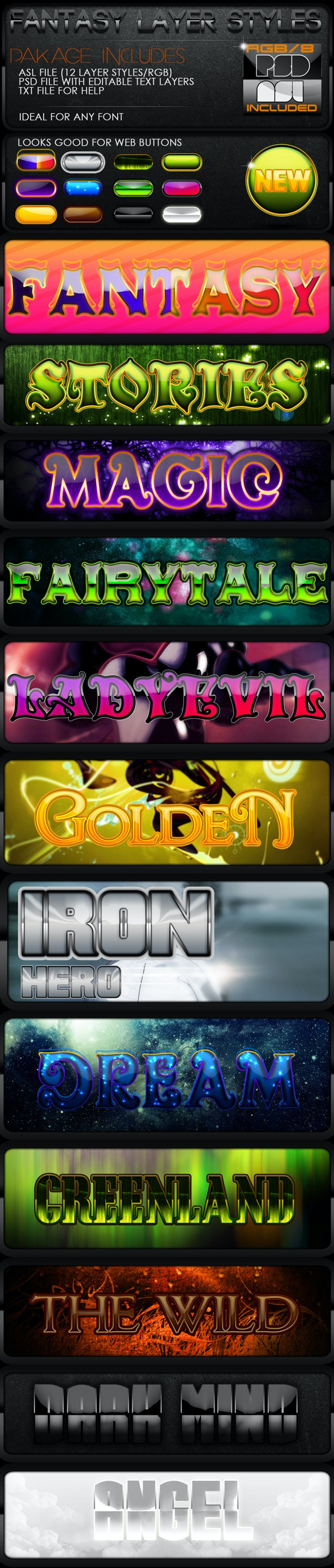 Fantasy Layer Styles - Text Effects Styles
