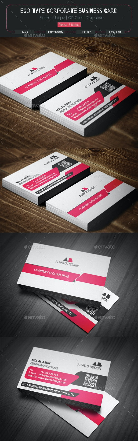 Ego Type Corporate Business Card - Corporate Business Cards