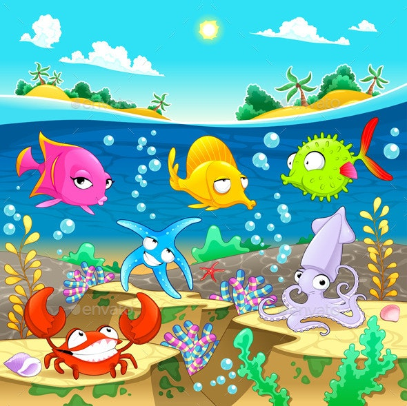 Marine Family under the Sea. - Animals Characters