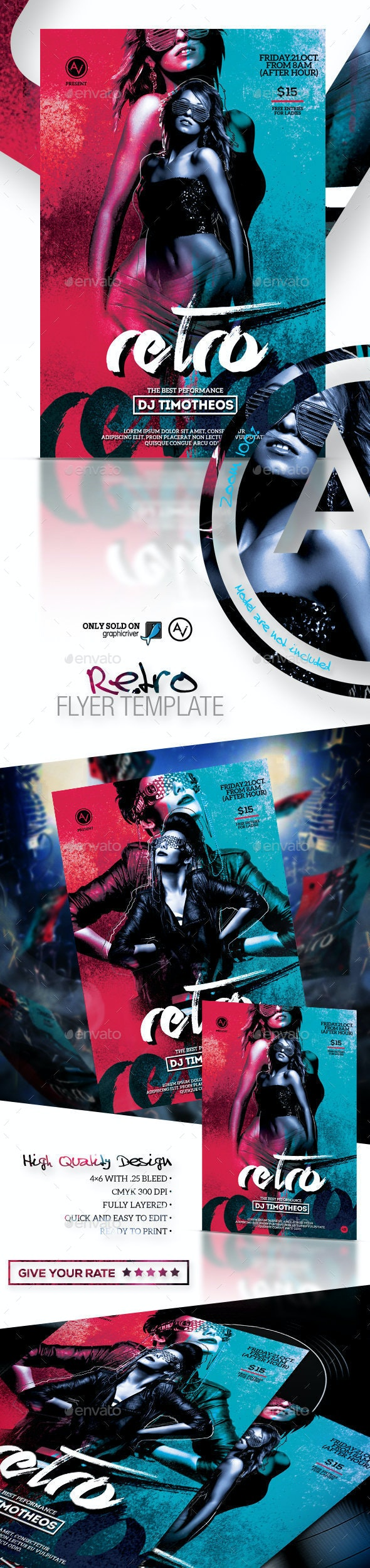 Retro Flyer Template - Clubs & Parties Events