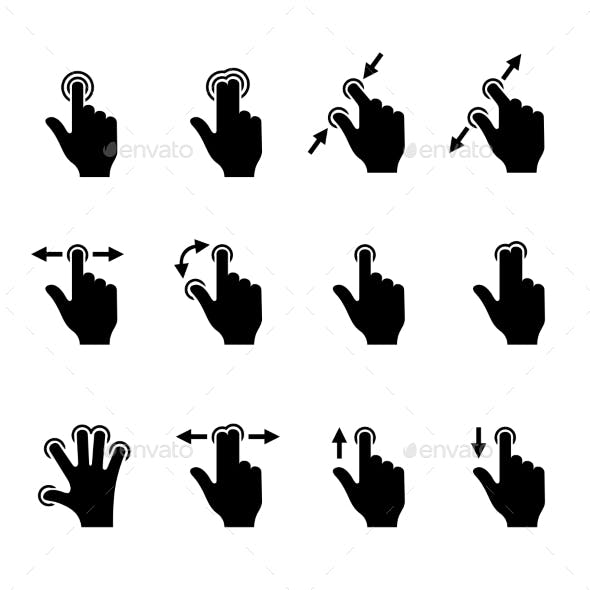 Gesture Icons Set for Mobile Touch Devices