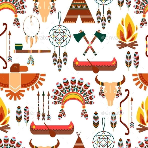 Seamless Pattern American Tribal Native Symbols - Patterns Decorative