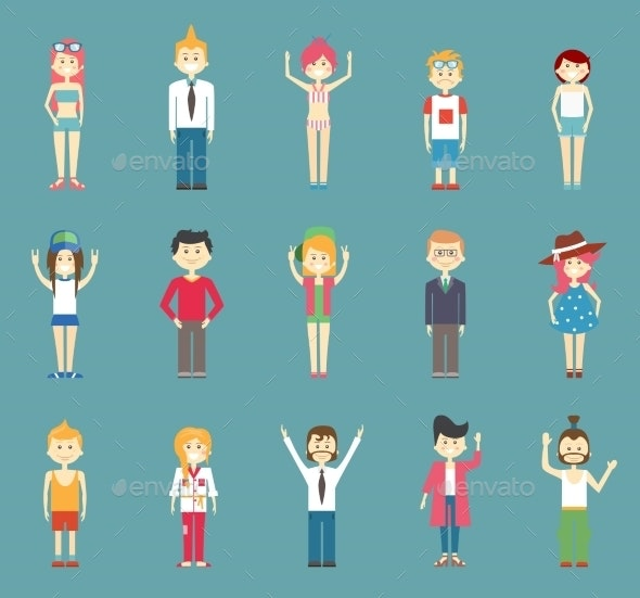 Vector Teenager Cartoons Isolated on Blue Green - People Characters