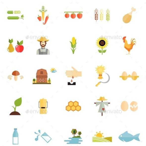 Variety Flat Style Farm Organic Food Icon