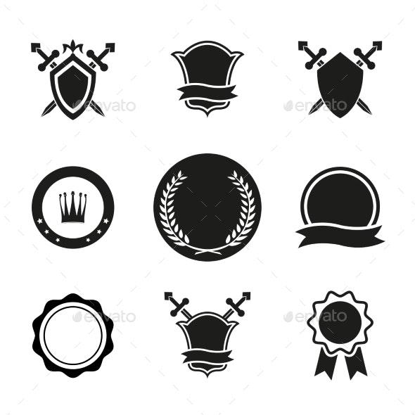 Vector Shields  Crowns and Emblems - Decorative Symbols Decorative