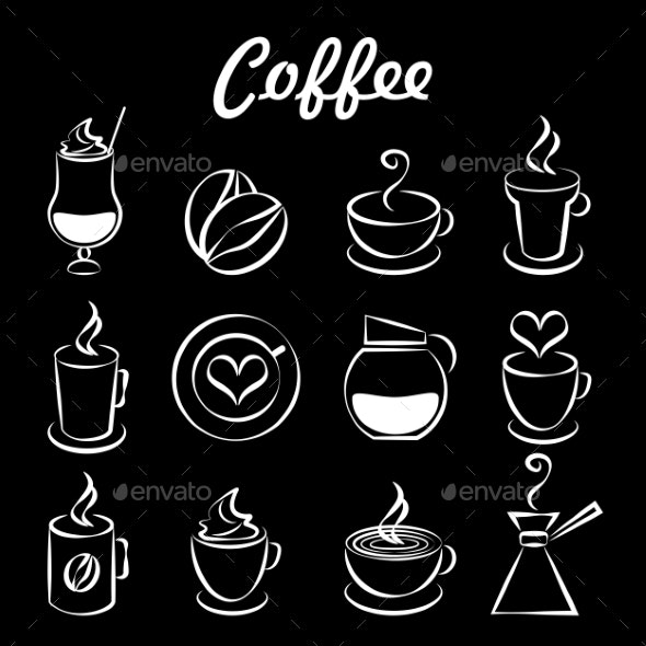 Set of Coffee Icons on Black - Miscellaneous Vectors