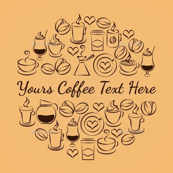 Coffee Time Emblem of Coffee Icons - Miscellaneous Vectors