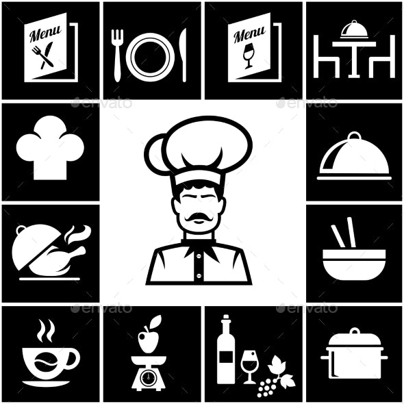 Set of Restaurant Icons in White on Black - Food Objects