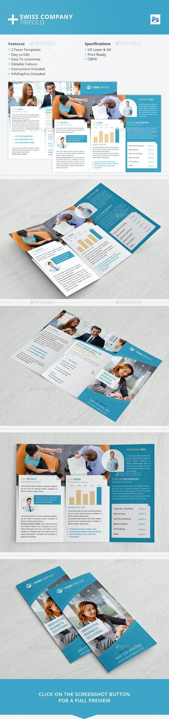 Swiss Company Trifold PSD - Brochures Print Templates