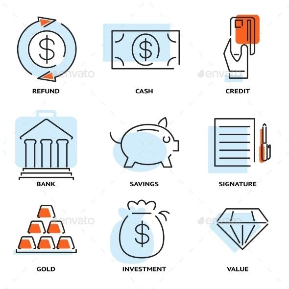 Set of Money and Value Flat Line Vector Icons - Web Elements Vectors