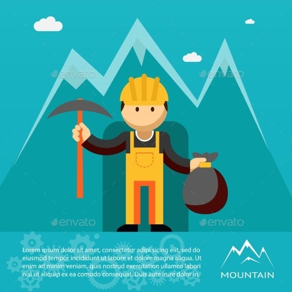Mountain Worker with Pick and Sack of Gold - People Characters