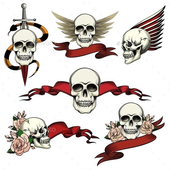 Set of Commemorative Skull Icons - Tattoos Vectors