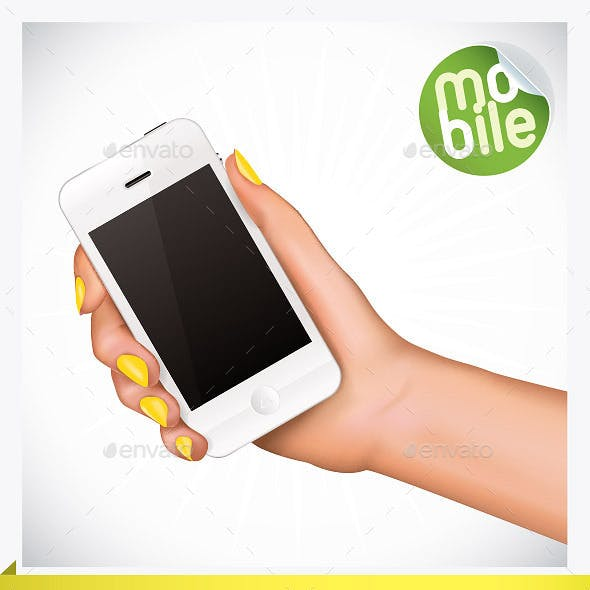 4 Hand Holding Mobile Phone Illustrations