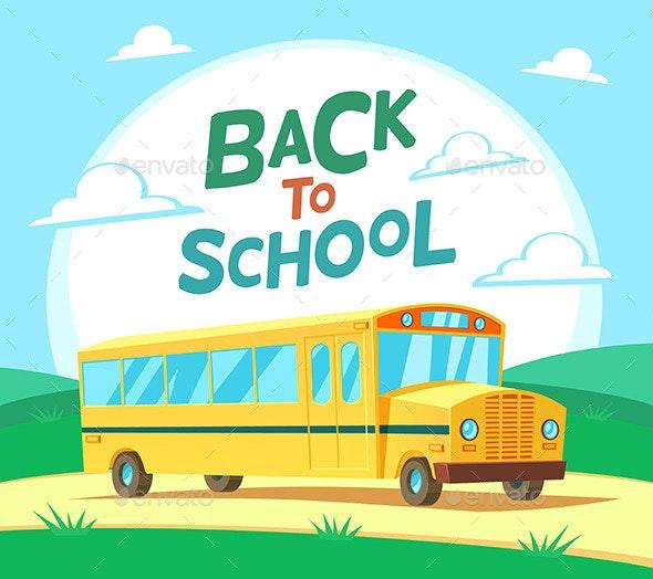 Cartoon School Bus - Conceptual Vectors