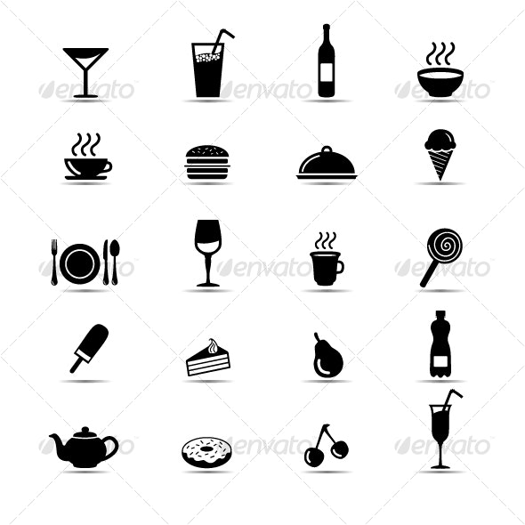 Set of simple black and white food icons - Food Objects