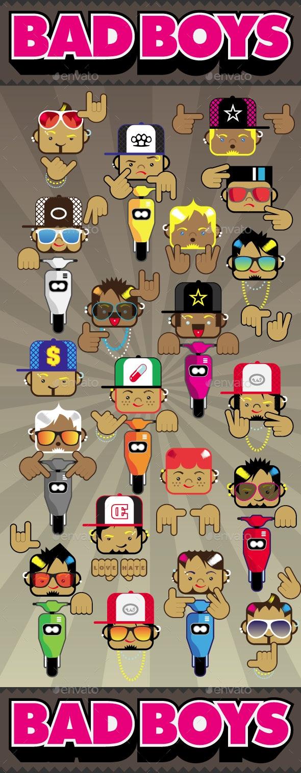 Bad Boys Characters Design Vector Pack - Characters Vectors
