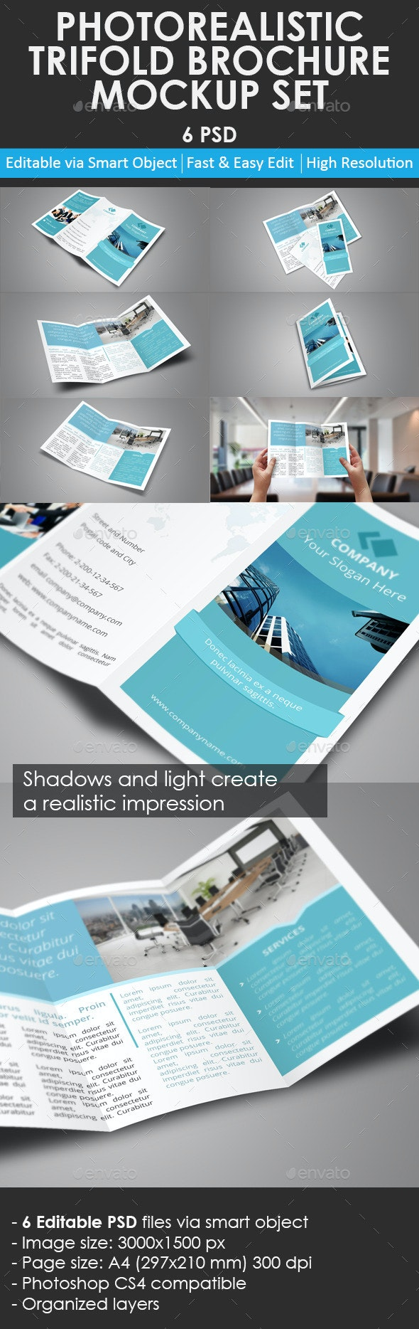 Trifold Brochure Mockup Set - Product Mock-Ups Graphics