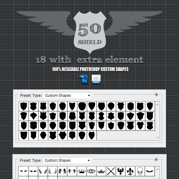 50 Shield For Photoshop Custom Shapes