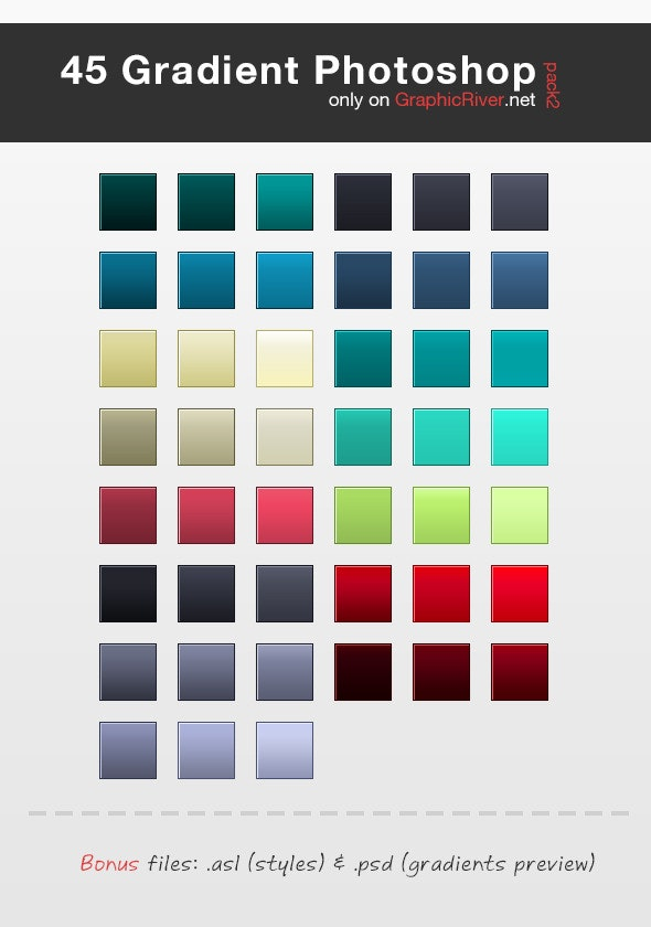45 HQ Gradient Set for Photoshop - Pack 2 - Miscellaneous Styles