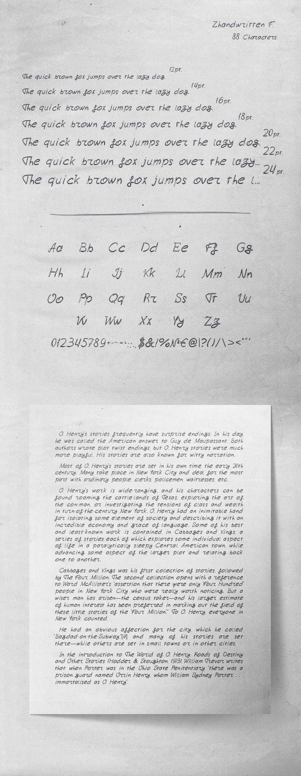 Zhandwritten_F - Handwriting Fonts