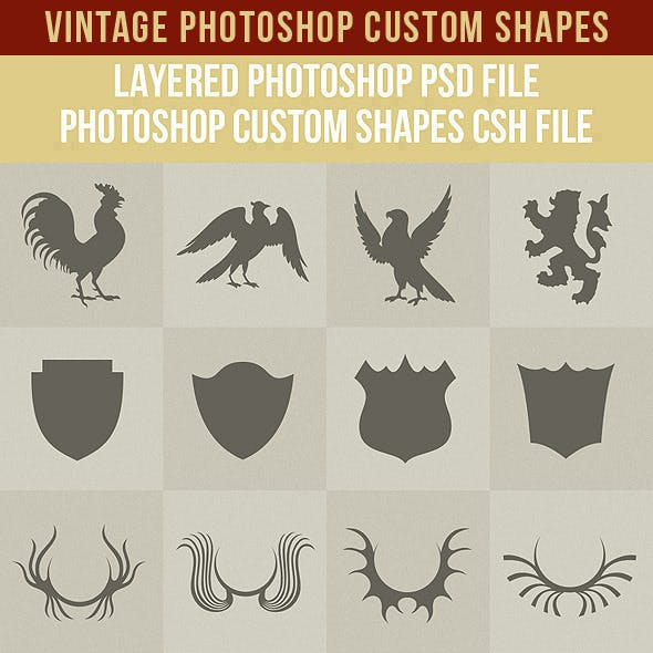 Vintage Photoshop Custom Shapes