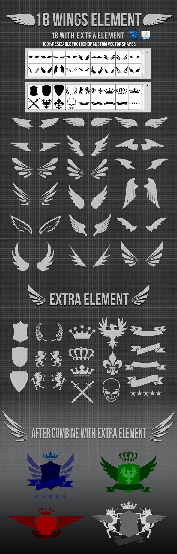 18 Wings Photoshop Custom Shapes v2 - Symbols Shapes