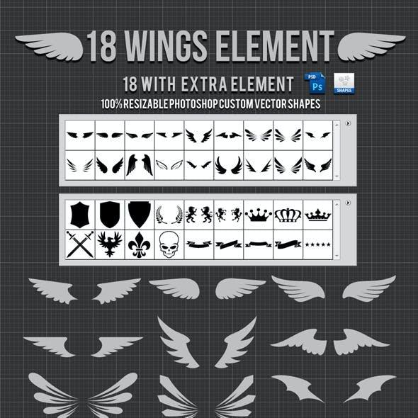 18 Wings Photoshop Custom Shapes v2