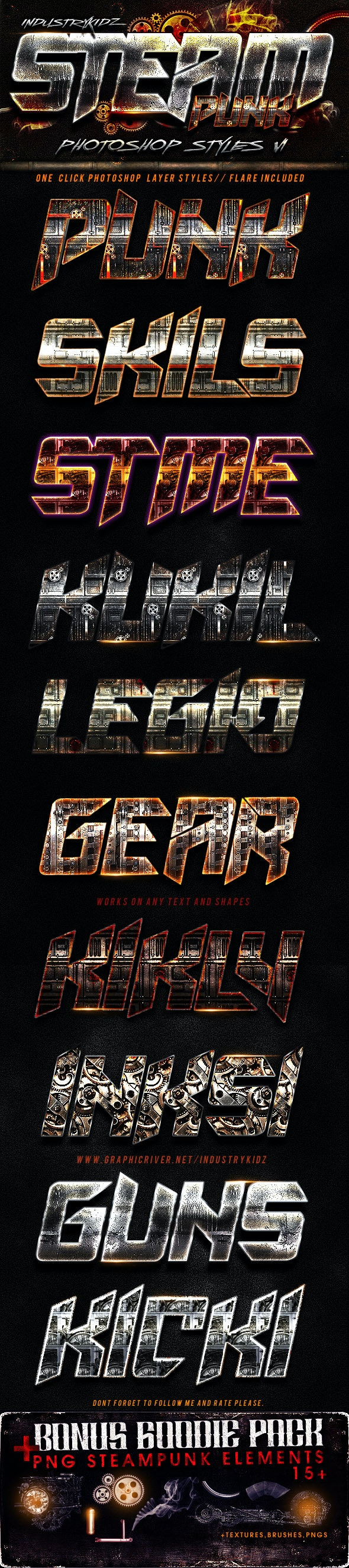 SteamPunk Photoshop Styles  - Text Effects Styles