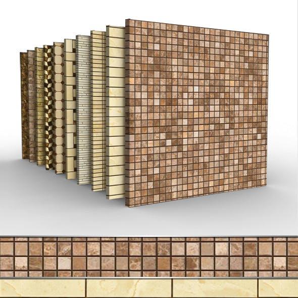 10 Seamless Polished Stone Mosaic Tiles