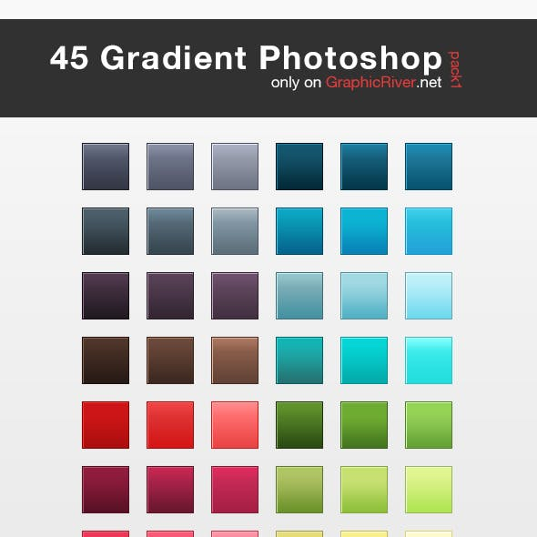 45 HQ Gradient Set for Photoshop - Pack 1
