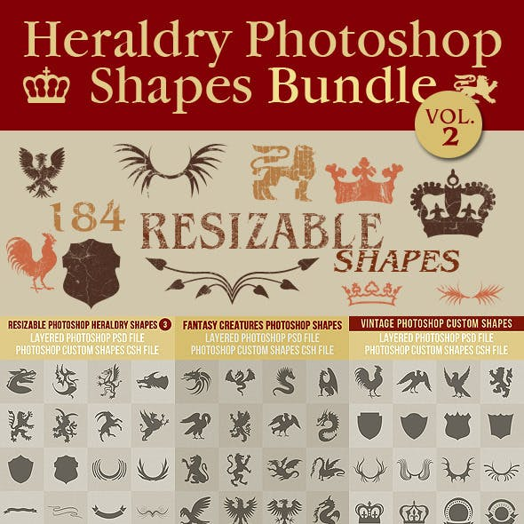 Heraldry Photoshop Shapes Bundle 2