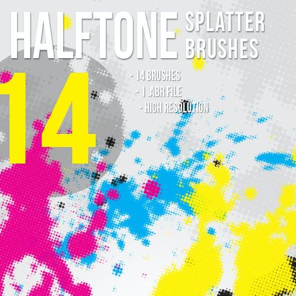 14 Halftone Splatter Brushes