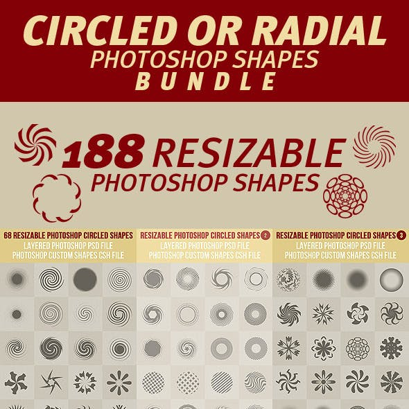 Circled or Radial Photoshop Shapes Bundle