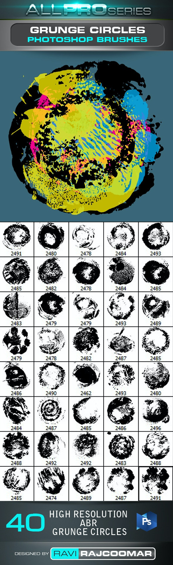 40 Grunge Circles Photoshop Brushes - Grunge Brushes