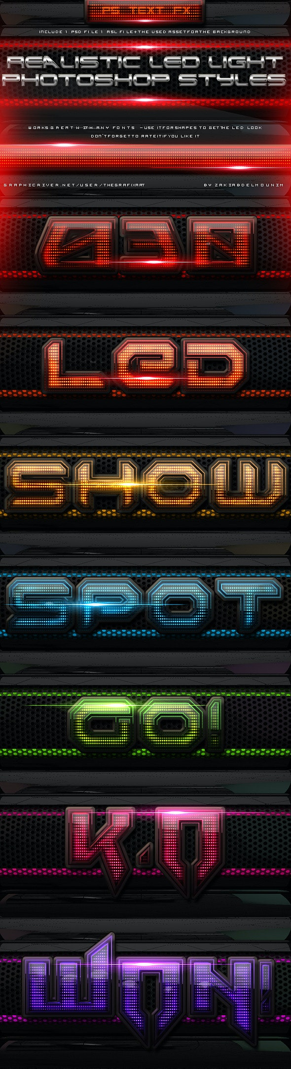 Led Light Layer Styles - Text Effects Styles