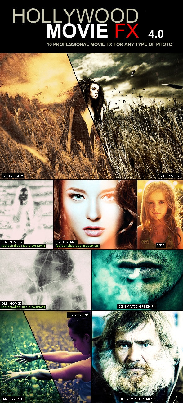 Hollywood Movie FX 4.0 | 10 Amazing Efects - Photo Effects Actions