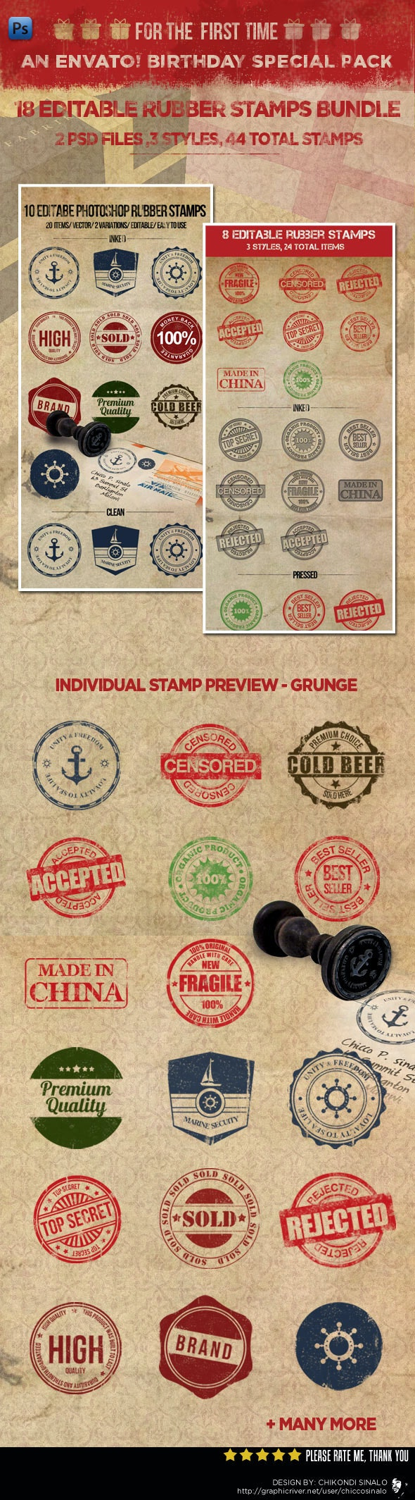 18 Editable Rubber Stamps Bundle - Photoshop Add-ons